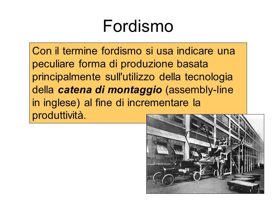 Fordismo Con il termine fordismo si usa indicare una peculiare forma di produzione basata principalmente sull'utilizzo della tecnologia della catena d