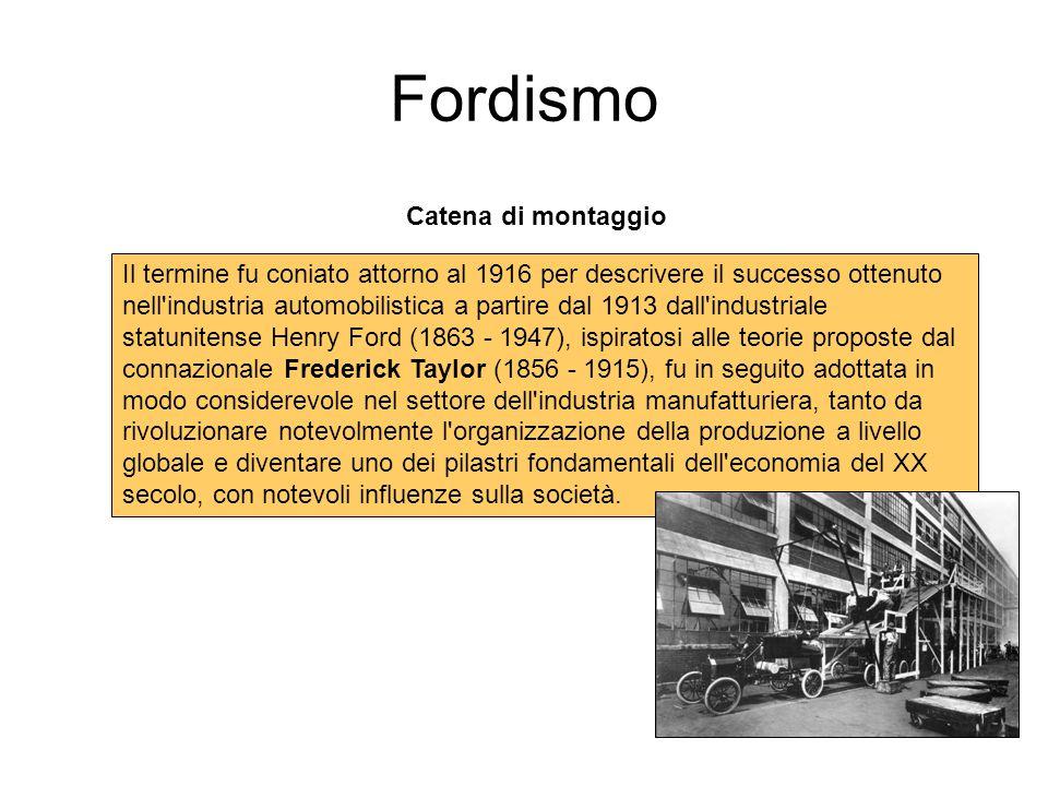 Fordismo Catena di montaggio Il termine fu coniato attorno al 1916 per descrivere il successo ottenuto nell'industria automobilistica a partire dal 19