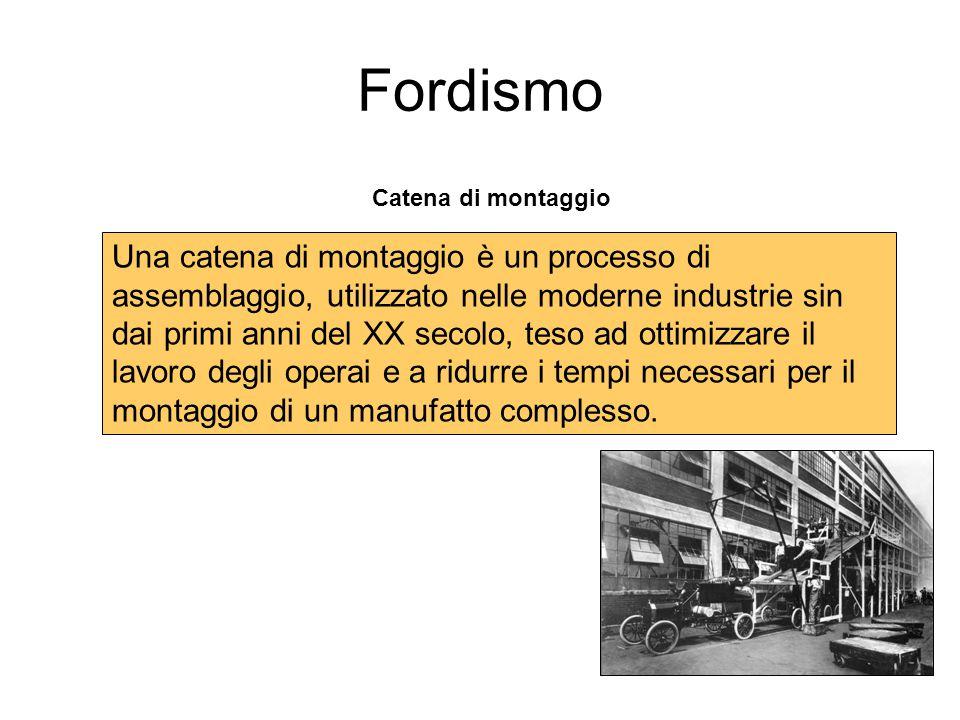 Fordismo Catena di montaggio Una catena di montaggio è un processo di assemblaggio, utilizzato nelle moderne industrie sin dai primi anni del XX secol