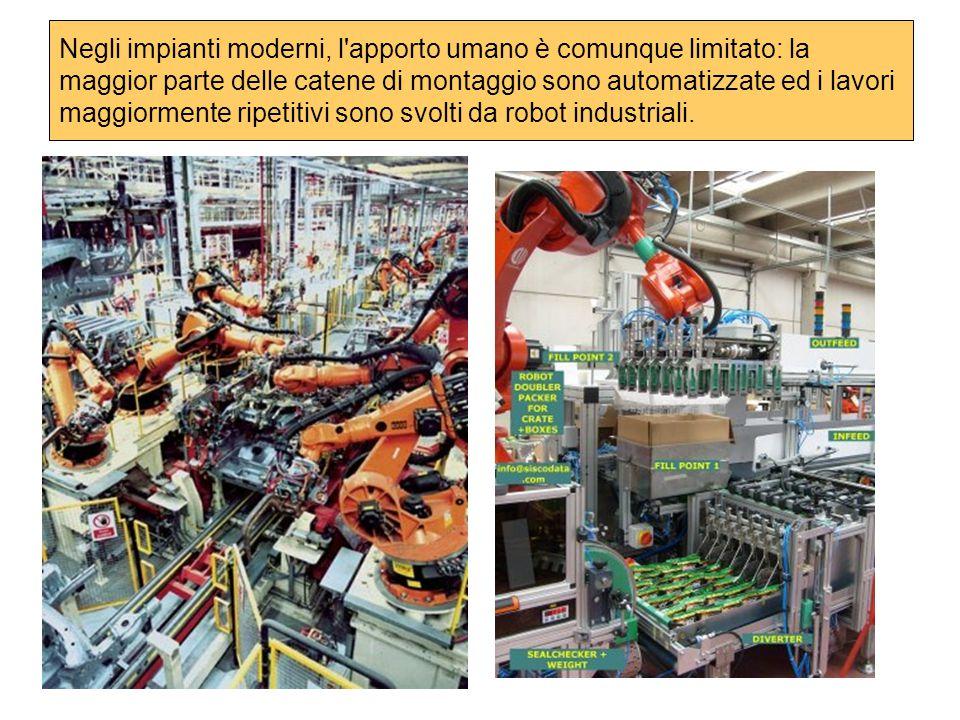 Negli impianti moderni, l'apporto umano è comunque limitato: la maggior parte delle catene di montaggio sono automatizzate ed i lavori maggiormente ri