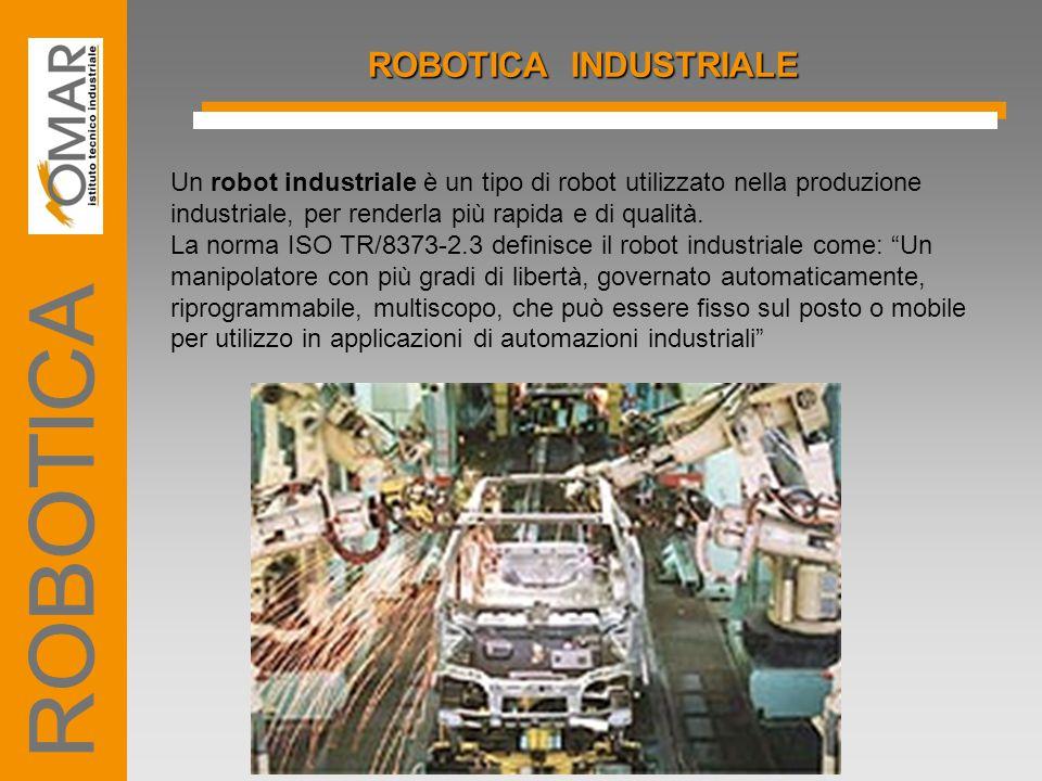 GRADI DI LIBERTA' Fondamentale per la caratterizzazione di un robot è il numero di assi, o i gradi di libertà, di cui è dotato.
