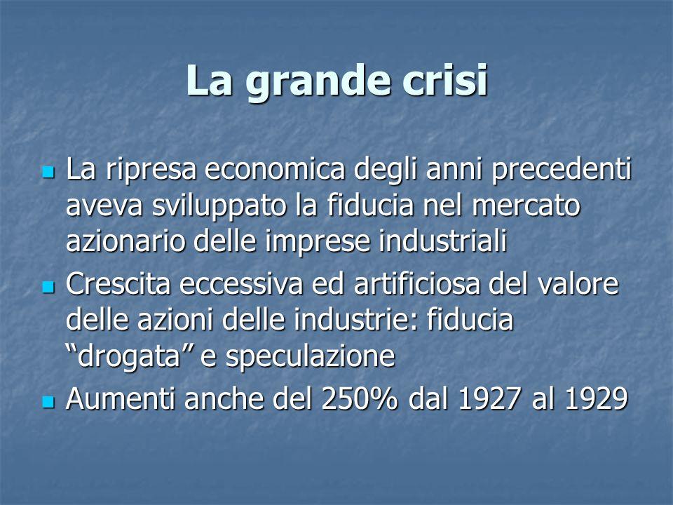 La grande crisi La ripresa economica degli anni precedenti aveva sviluppato la fiducia nel mercato azionario delle imprese industriali La ripresa econ