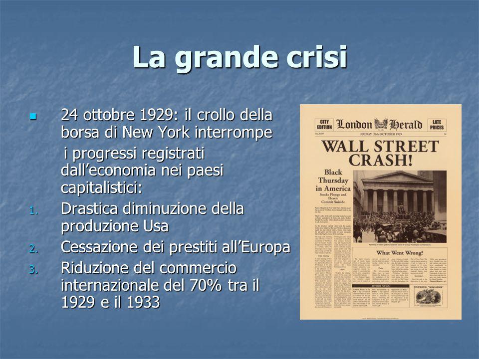 La grande crisi 24 ottobre 1929: il crollo della borsa di New York interrompe 24 ottobre 1929: il crollo della borsa di New York interrompe i progress