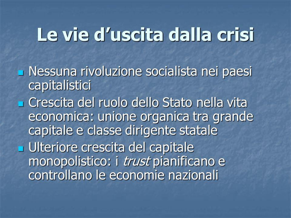 Le vie d'uscita dalla crisi Nessuna rivoluzione socialista nei paesi capitalistici Nessuna rivoluzione socialista nei paesi capitalistici Crescita del