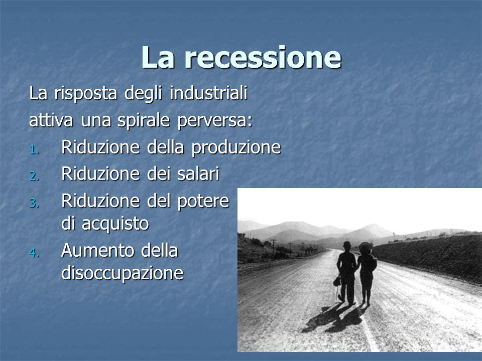 La recessione La risposta degli industriali attiva una spirale perversa: 1. Riduzione della produzione 2. Riduzione dei salari 3. Riduzione del potere
