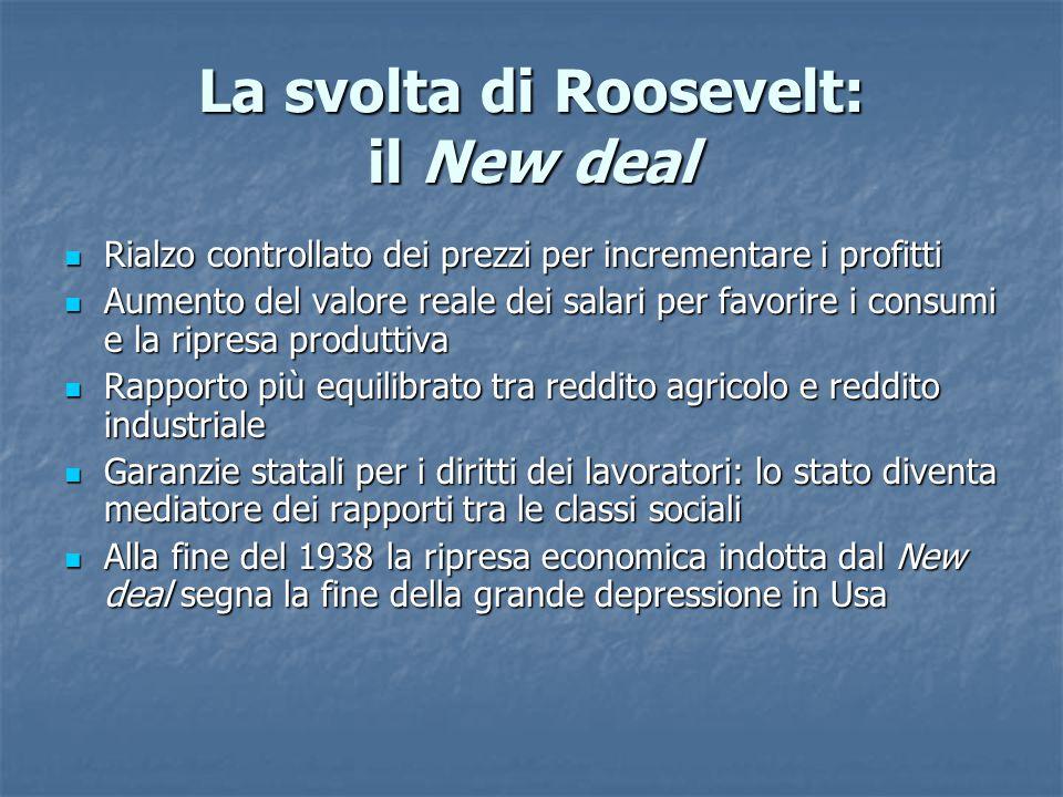 La svolta di Roosevelt: il New deal Rialzo controllato dei prezzi per incrementare i profitti Rialzo controllato dei prezzi per incrementare i profitt