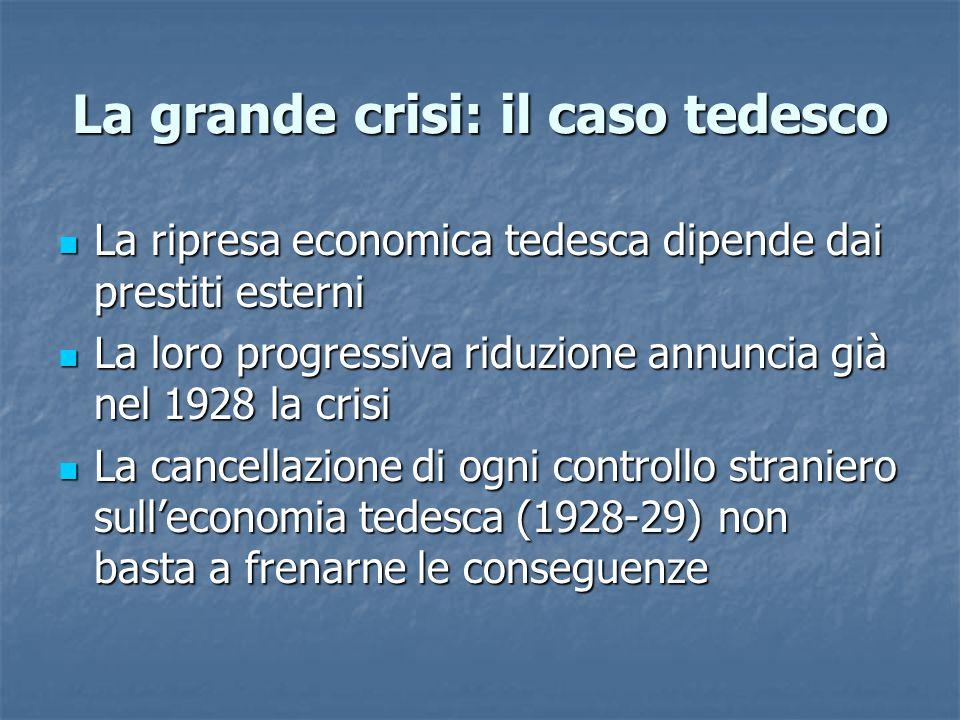 La grande crisi: il caso tedesco La ripresa economica tedesca dipende dai prestiti esterni La ripresa economica tedesca dipende dai prestiti esterni L
