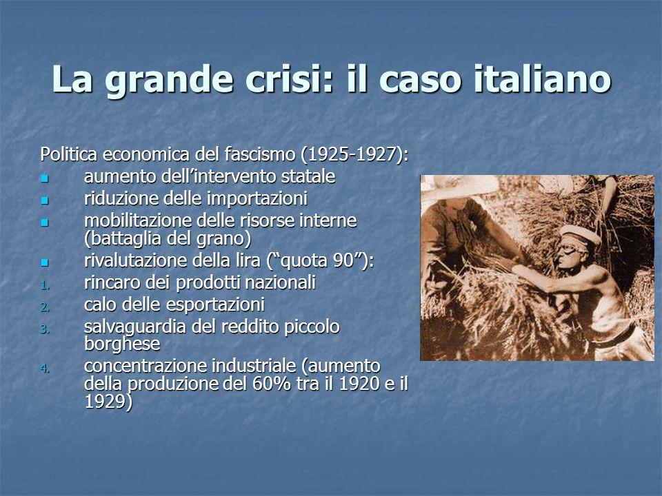 La grande crisi: il caso italiano Politica economica del fascismo (1925-1927): aumento dell'intervento statale aumento dell'intervento statale riduzio