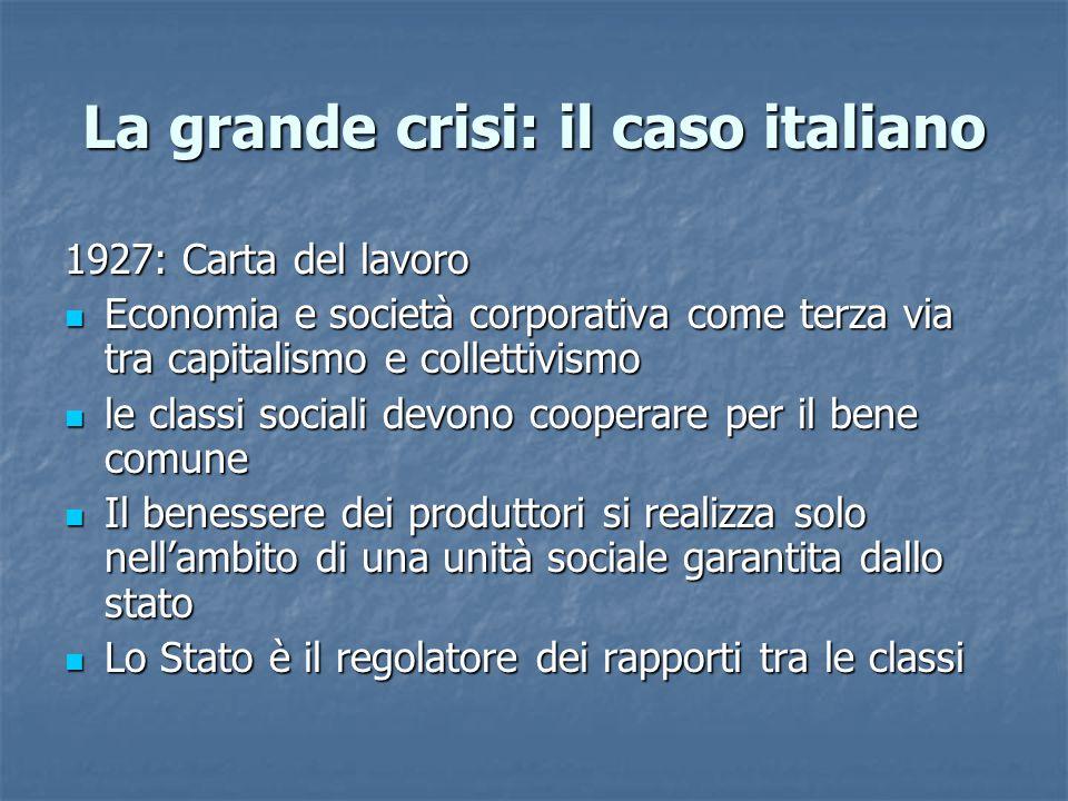 La grande crisi: il caso italiano 1927: Carta del lavoro Economia e società corporativa come terza via tra capitalismo e collettivismo Economia e soci
