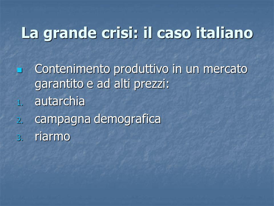 La grande crisi: il caso italiano Contenimento produttivo in un mercato garantito e ad alti prezzi: Contenimento produttivo in un mercato garantito e