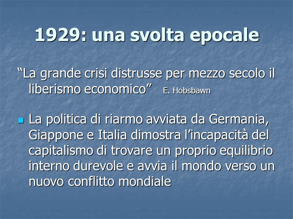 """1929: una svolta epocale """"La grande crisi distrusse per mezzo secolo il liberismo economico"""" E. Hobsbawn La politica di riarmo avviata da Germania, Gi"""