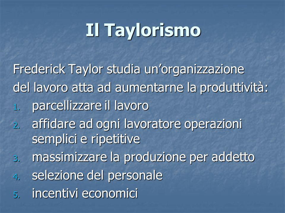 Il Taylorismo Frederick Taylor studia un'organizzazione del lavoro atta ad aumentarne la produttività: 1. parcellizzare il lavoro 2. affidare ad ogni
