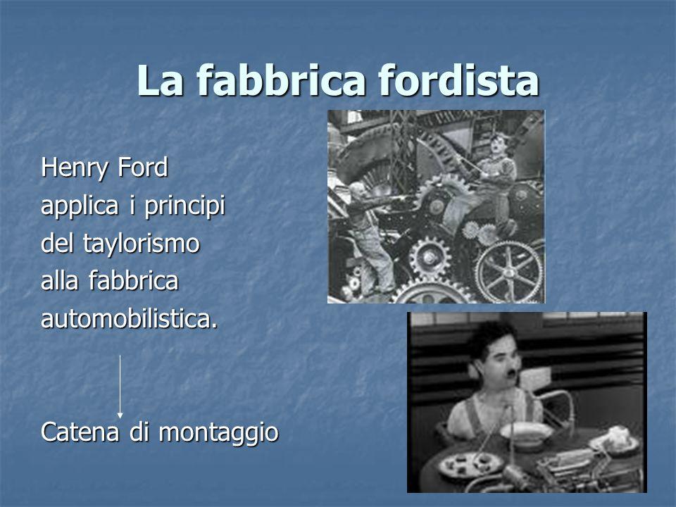 La fabbrica fordista Henry Ford applica i principi del taylorismo alla fabbrica automobilistica. Catena di montaggio