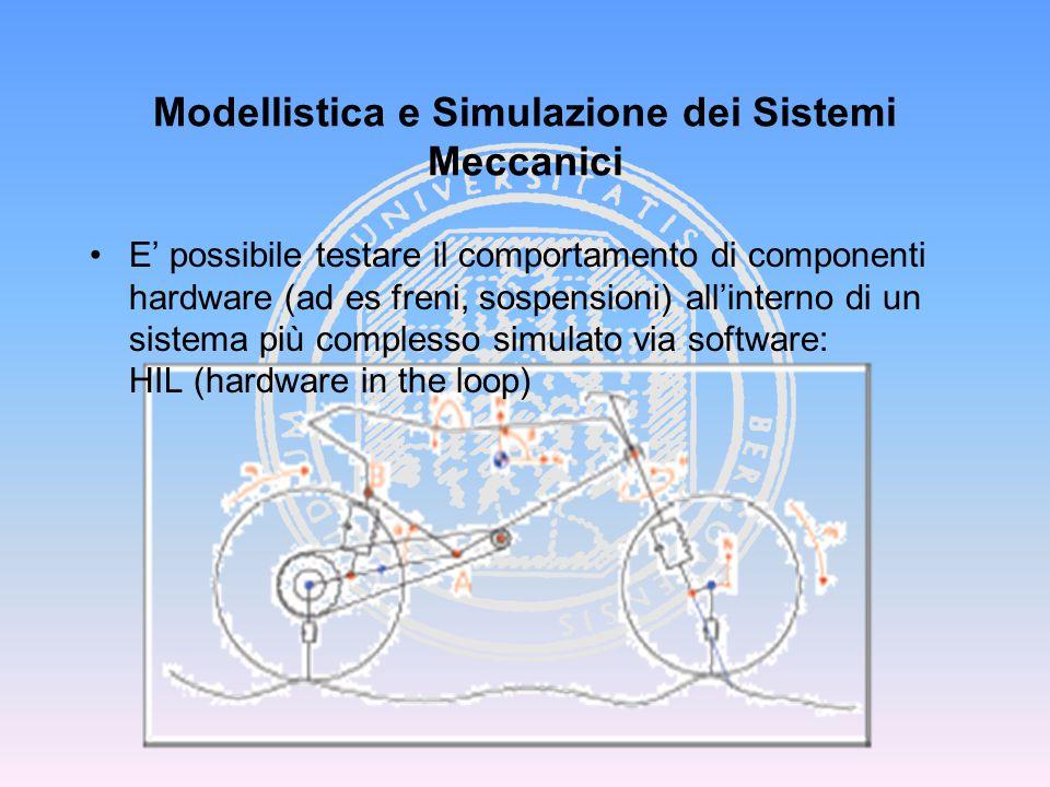 Modellistica e Simulazione dei Sistemi Meccanici E' possibile testare il comportamento di componenti hardware (ad es freni, sospensioni) all'interno d