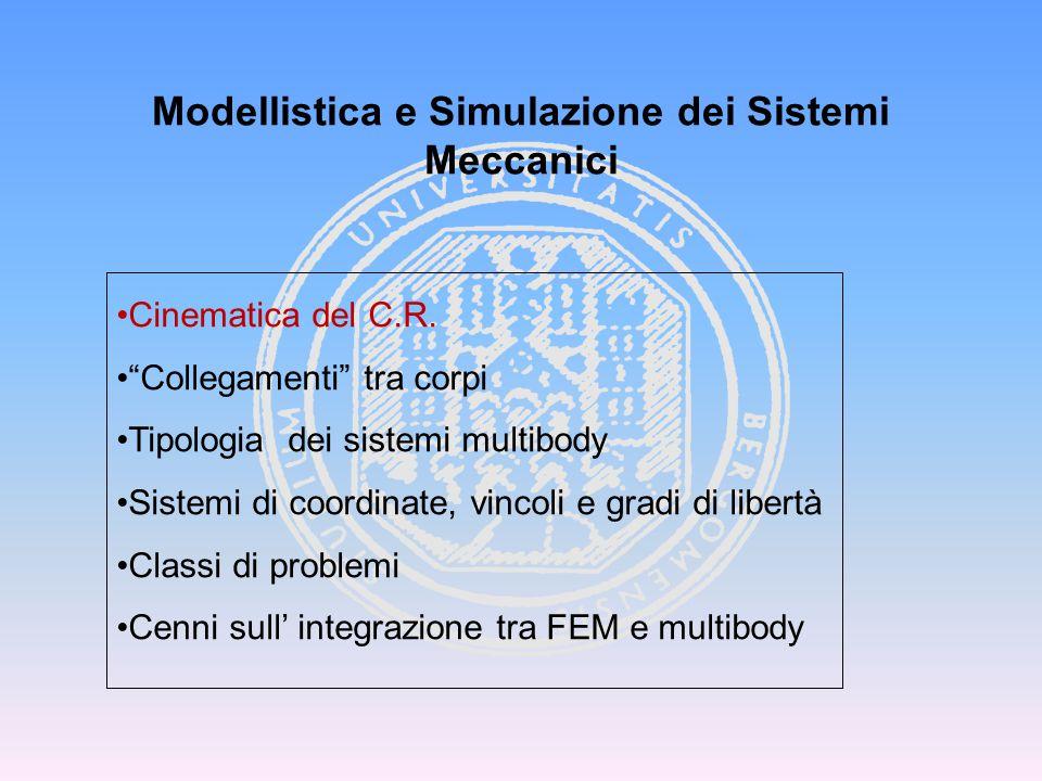 """Modellistica e Simulazione dei Sistemi Meccanici Cinematica del C.R. """"Collegamenti"""" tra corpi Tipologia dei sistemi multibody Sistemi di coordinate, v"""