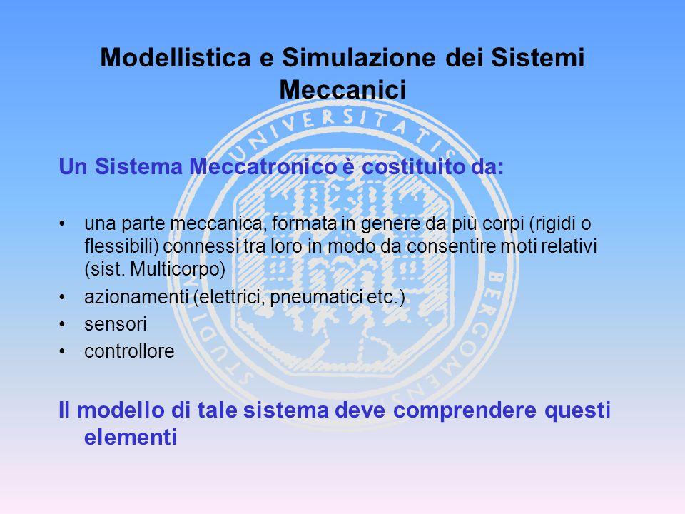 Un Sistema Meccatronico è costituito da: una parte meccanica, formata in genere da più corpi (rigidi o flessibili) connessi tra loro in modo da consen