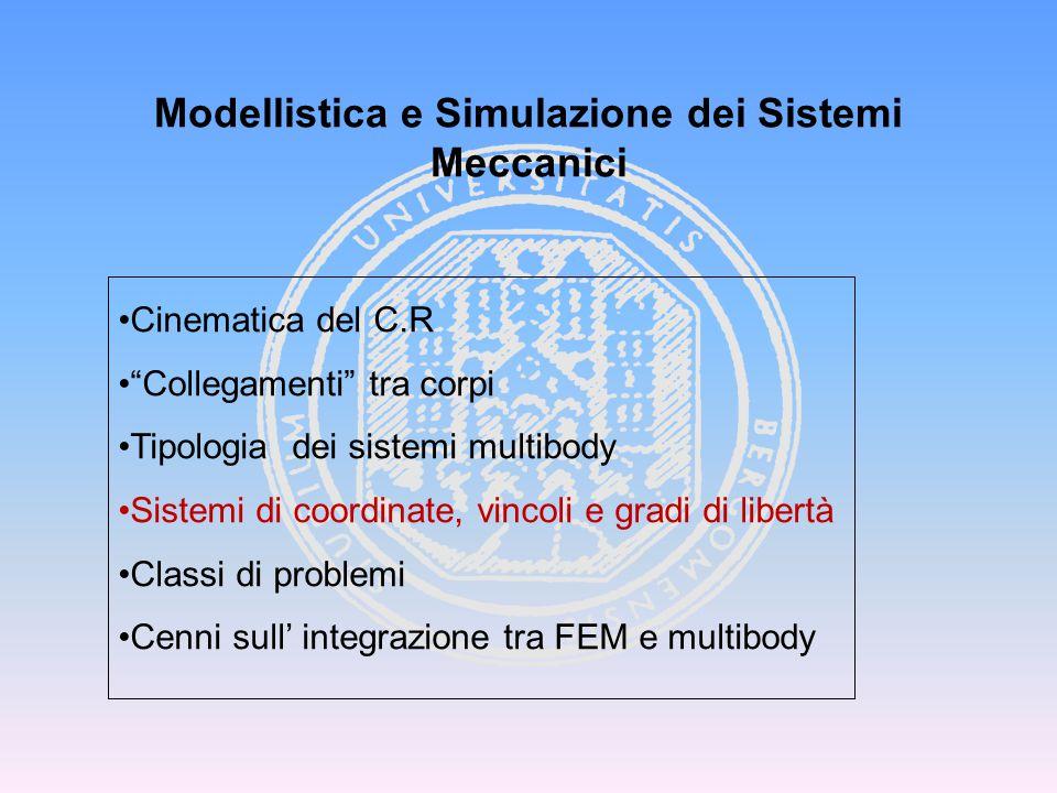 """Modellistica e Simulazione dei Sistemi Meccanici Cinematica del C.R """"Collegamenti"""" tra corpi Tipologia dei sistemi multibody Sistemi di coordinate, vi"""