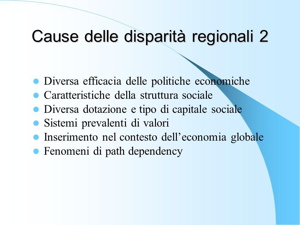 Cause delle disparità regionali 2 Diversa efficacia delle politiche economiche Caratteristiche della struttura sociale Diversa dotazione e tipo di capitale sociale Sistemi prevalenti di valori Inserimento nel contesto dell'economia globale Fenomeni di path dependency