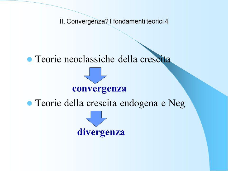 II. Convergenza? I fondamenti teorici 4 Teorie neoclassiche della crescita convergenza Teorie della crescita endogena e Neg divergenza