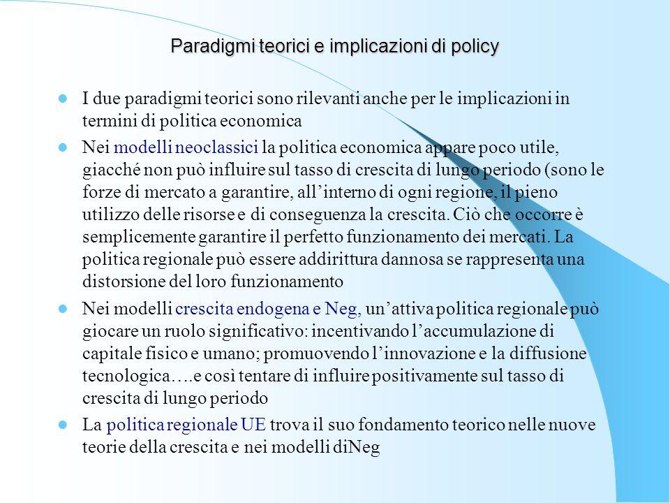 Paradigmi teorici e implicazioni di policy I due paradigmi teorici sono rilevanti anche per le implicazioni in termini di politica economica Nei model