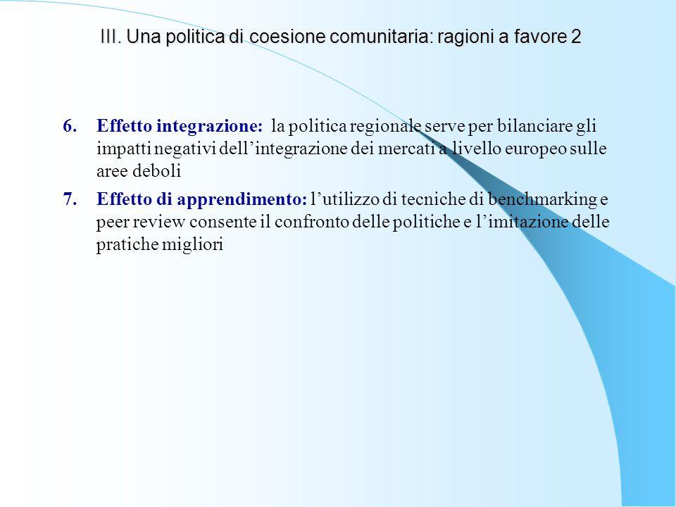 III. Una politica di coesione comunitaria: ragioni a favore 2 6.Effetto integrazione: la politica regionale serve per bilanciare gli impatti negativi