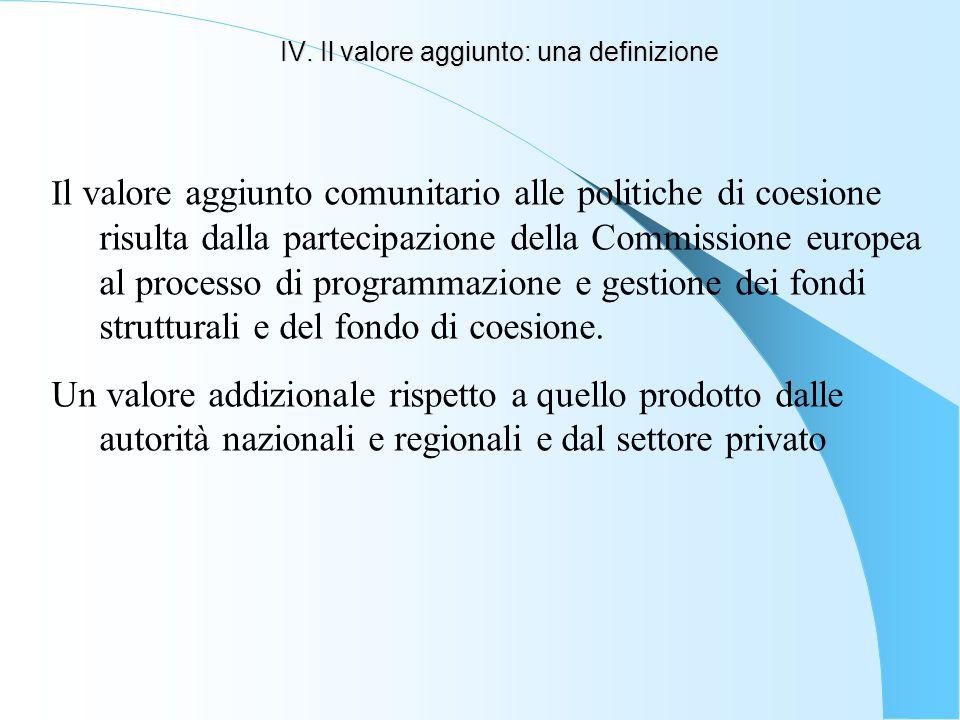 IV. Il valore aggiunto: una definizione I l valore aggiunto comunitario alle politiche di coesione risulta dalla partecipazione della Commissione euro