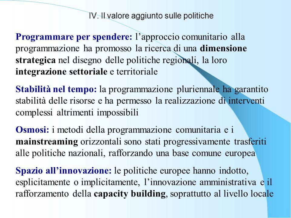 IV. Il valore aggiunto sulle politiche Programmare per spendere: l'approccio comunitario alla programmazione ha promosso la ricerca di una dimensione