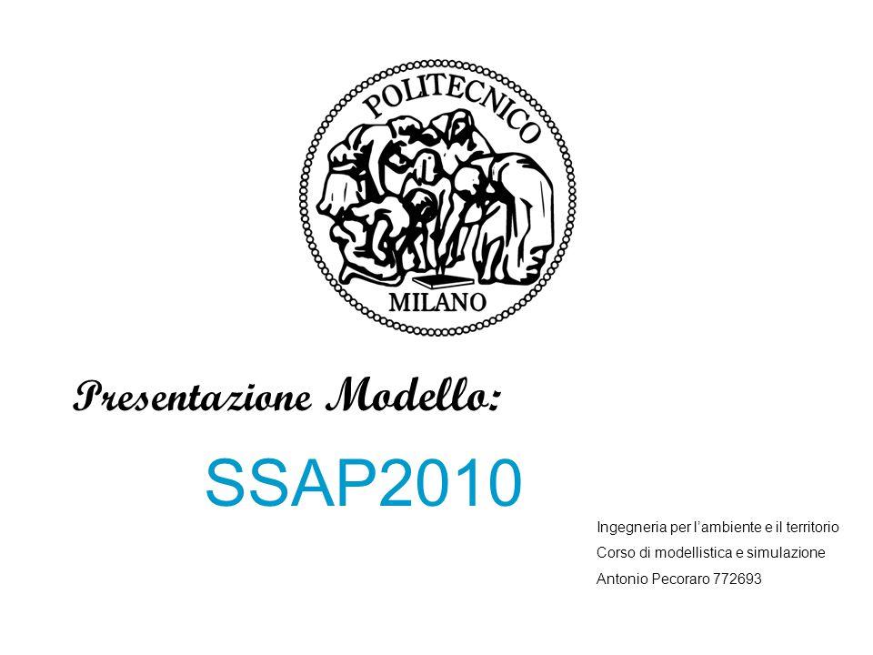 Presentazione Modello: SSAP2010 Ingegneria per l'ambiente e il territorio Corso di modellistica e simulazione Antonio Pecoraro 772693