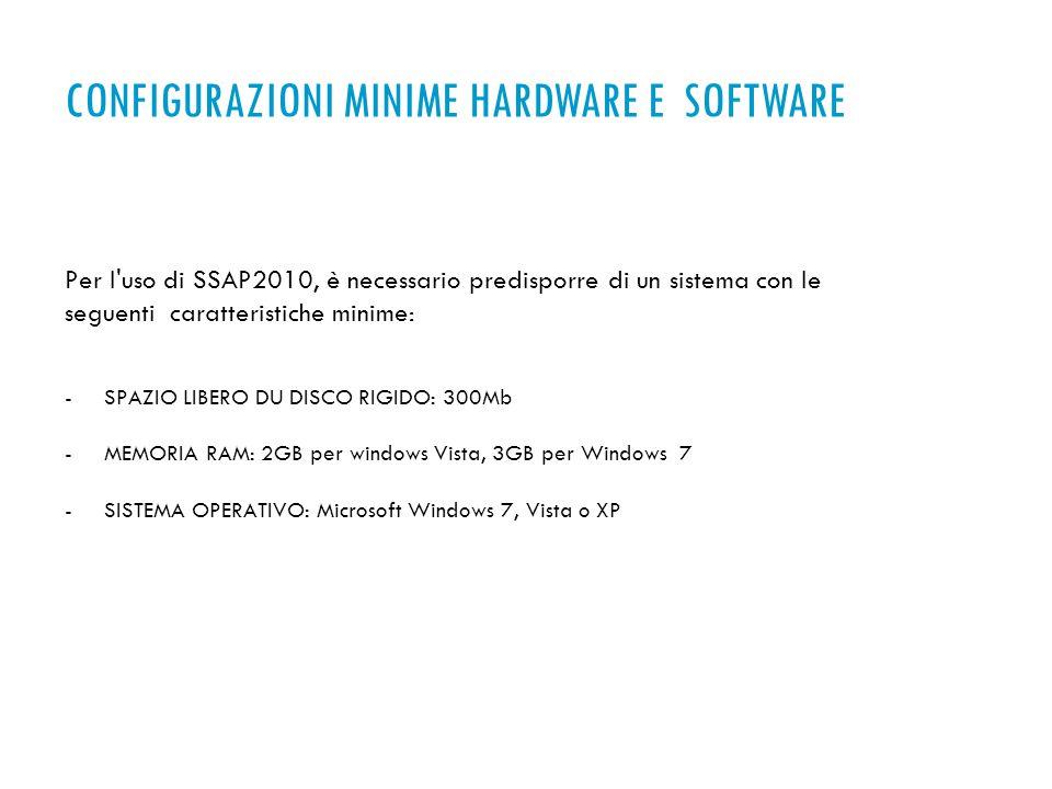 Per l uso di SSAP2010, è necessario predisporre di un sistema con le seguenti caratteristiche minime: -SPAZIO LIBERO DU DISCO RIGIDO: 300Mb -MEMORIA RAM: 2GB per windows Vista, 3GB per Windows 7 -SISTEMA OPERATIVO: Microsoft Windows 7, Vista o XP CONFIGURAZIONI MINIME HARDWARE E SOFTWARE