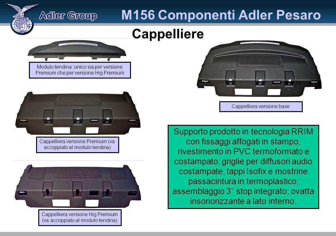 Cappelliere M156 Componenti Adler Pesaro Cappelliera versione base Supporto prodotto in tecnologia RRIM con fissaggi affogati in stampo; rivestimento