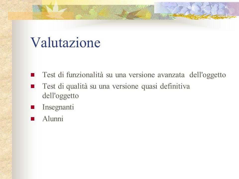 Valutazione Test di funzionalità su una versione avanzata dell'oggetto Test di qualità su una versione quasi definitiva dell'oggetto Insegnanti Alunni