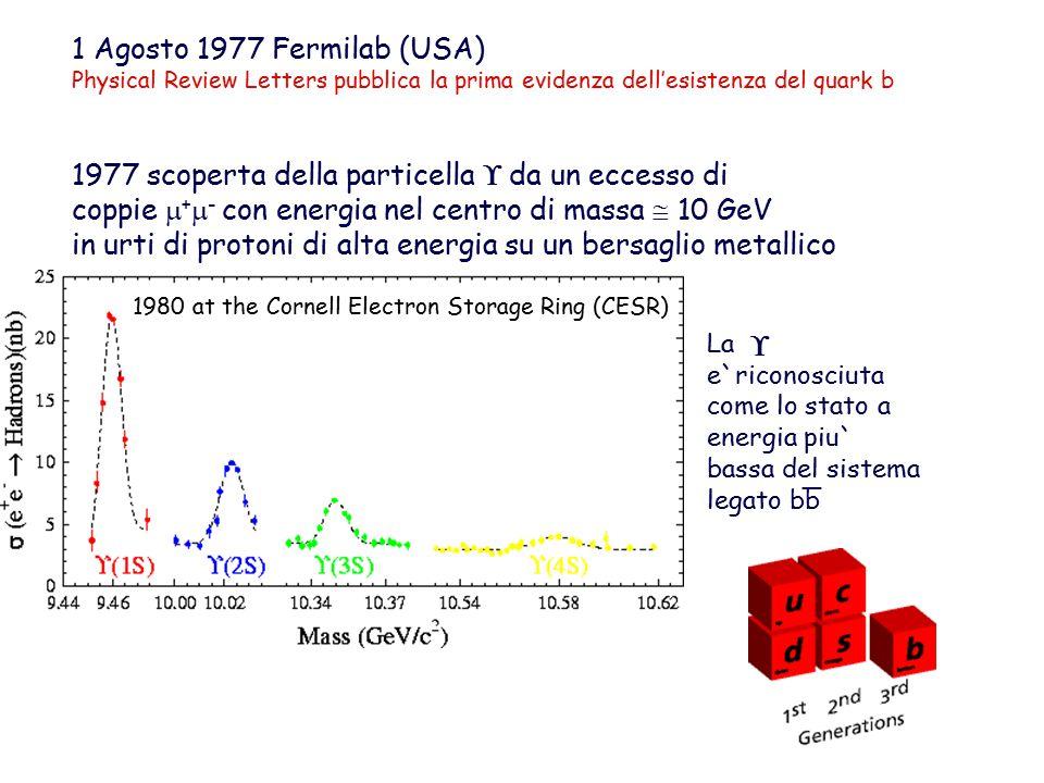 1980 at the Cornell Electron Storage Ring (CESR) 1 Agosto 1977 Fermilab (USA) Physical Review Letters pubblica la prima evidenza dell'esistenza del quark b 1977 scoperta della particella  da un eccesso di coppie  +  - con energia nel centro di massa  10 GeV in urti di protoni di alta energia su un bersaglio metallico La e`riconosciuta come lo stato a energia piu` bassa del sistema legato bb  _