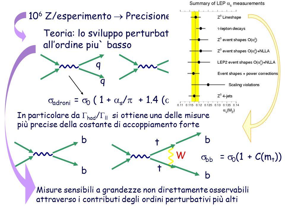 10 6 Z/esperimento  Precisione sperimentale ~ 0.1% Teoria: lo sviluppo perturbativo non può fermarsi al all'ordine piu` basso q q q q q  adroni =  0 ( 1 +  s /  + 1.4 (  s /   – 13 (  s /   ) q t t b b W b b  bb =  0 (1 + C(m t )) Misure sensibili a grandezze non direttamente osservabili attraverso i contributi degli ordini perturbativi più alti gg In particolare da  had /  ll si ottiene una delle misure più precise della costante di accoppiamento forte