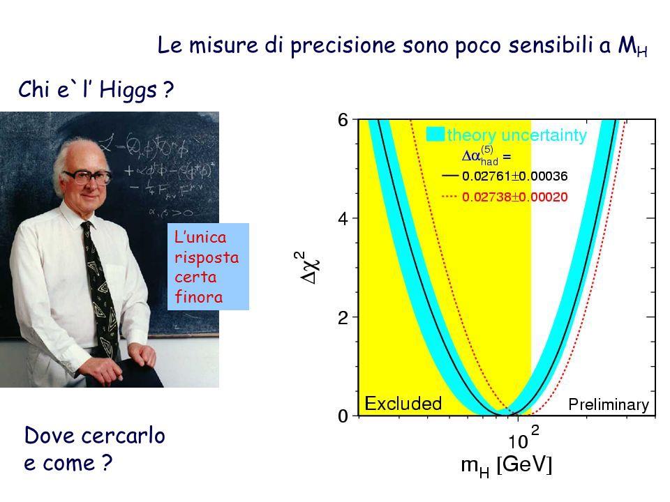 Le misure di precisione sono poco sensibili a M H Chi e`l' Higgs .