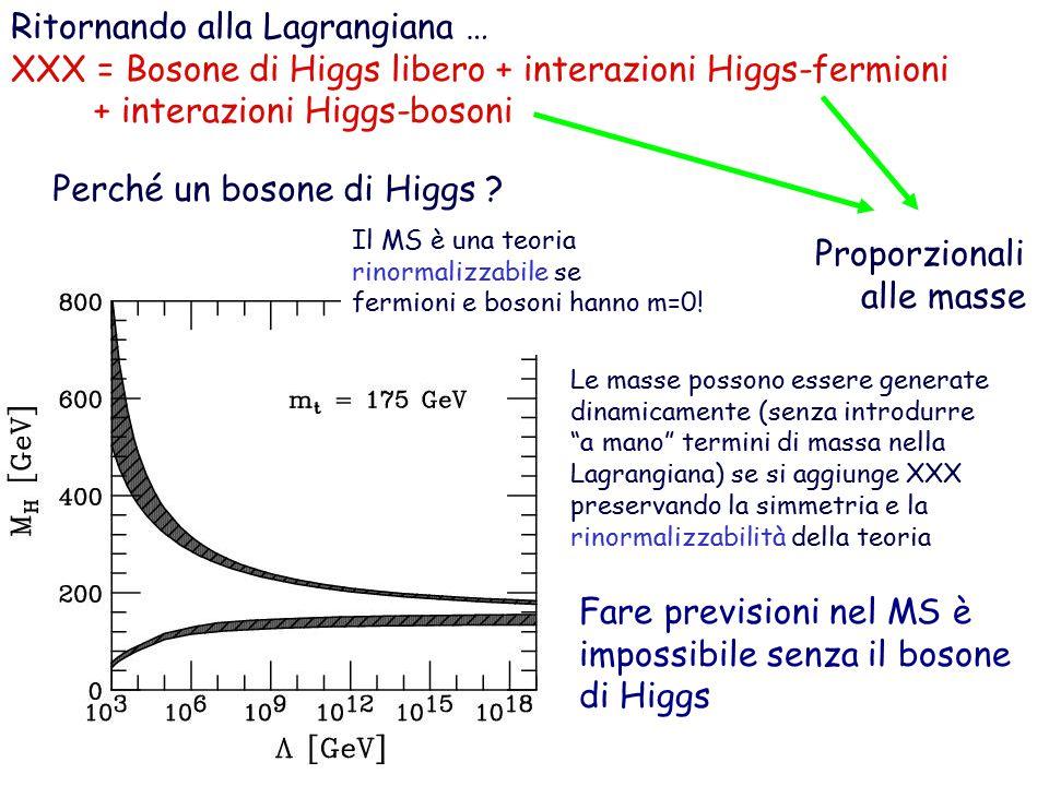 Ritornando alla Lagrangiana … XXX = Bosone di Higgs libero + interazioni Higgs-fermioni + interazioni Higgs-bosoni Proporzionali alle masse Perché un bosone di Higgs .