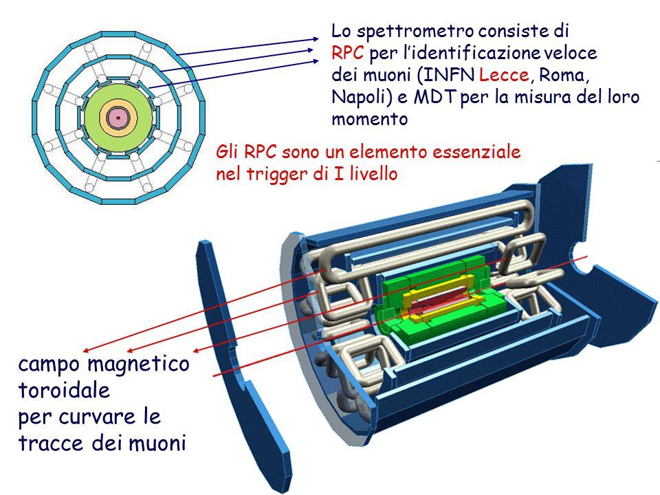 Lo spettrometro consiste di RPC per l'identificazione veloce dei muoni (INFN Lecce, Roma, Napoli) e MDT per la misura del loro momento campo magnetico toroidale per curvare le tracce dei muoni Gli RPC sono un elemento essenziale nel trigger di I livello
