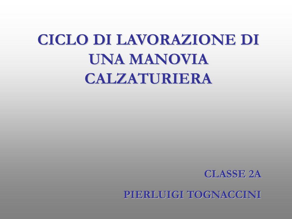 CICLO DI LAVORAZIONE DI UNA MANOVIA CALZATURIERA CLASSE 2A PIERLUIGI TOGNACCINI
