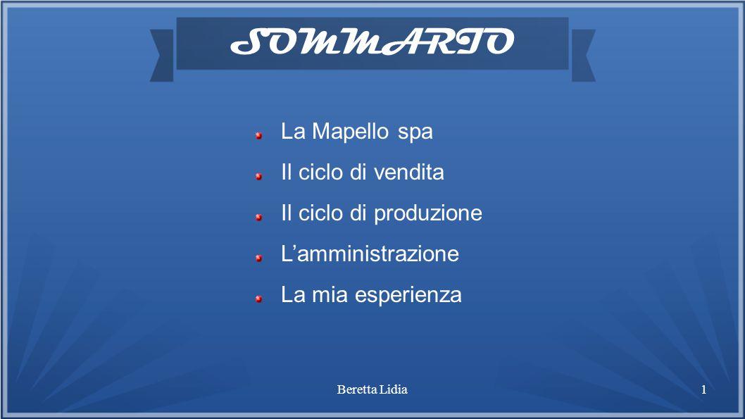 Beretta Lidia1 SOMMARIO La Mapello spa Il ciclo di vendita Il ciclo di produzione L'amministrazione La mia esperienza