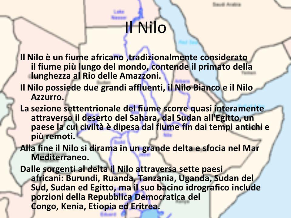 Il Nilo Il Nilo è un fiume africano,tradizionalmente considerato il fiume più lungo del mondo, contende il primato della lunghezza al Rio delle Amazzo