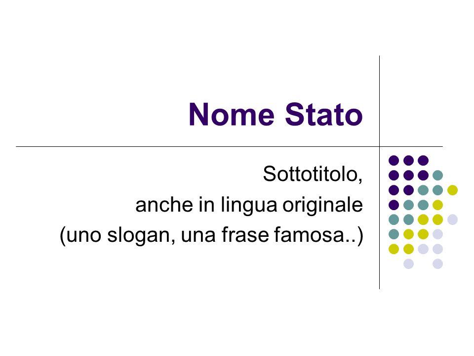 Nome Stato Sottotitolo, anche in lingua originale (uno slogan, una frase famosa..)