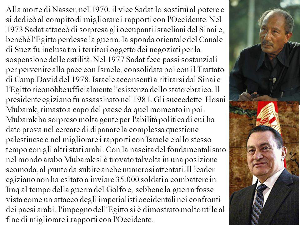 Alla morte di Nasser, nel 1970, il vice Sadat lo sostituì al potere e si dedicò al compito di migliorare i rapporti con l'Occidente. Nel 1973 Sadat at