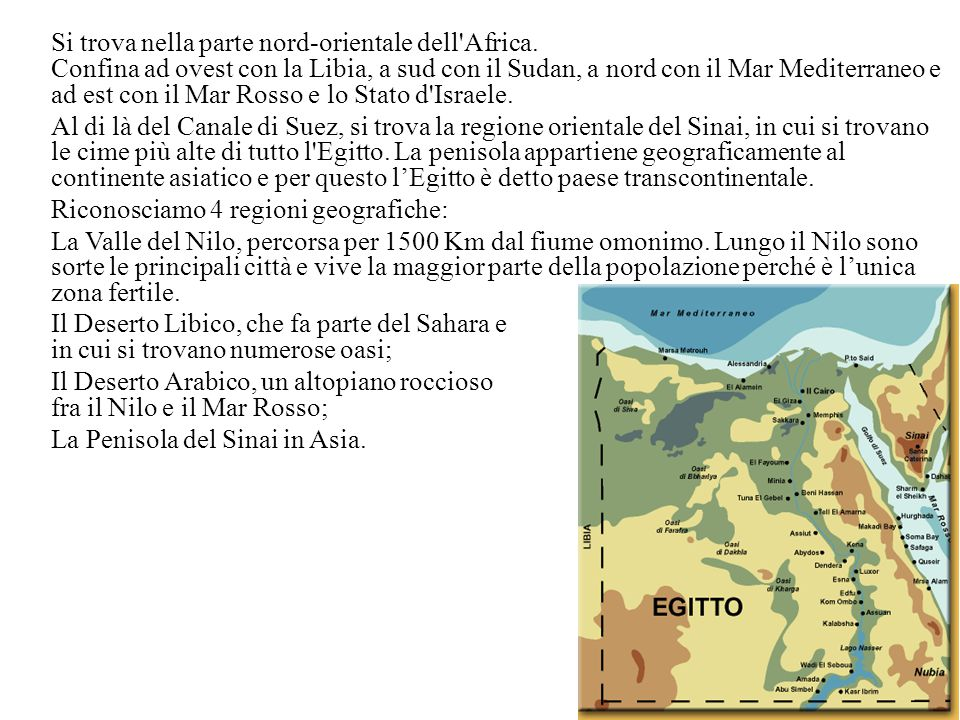 Si trova nella parte nord-orientale dell'Africa. Confina ad ovest con la Libia, a sud con il Sudan, a nord con il Mar Mediterraneo e ad est con il Mar