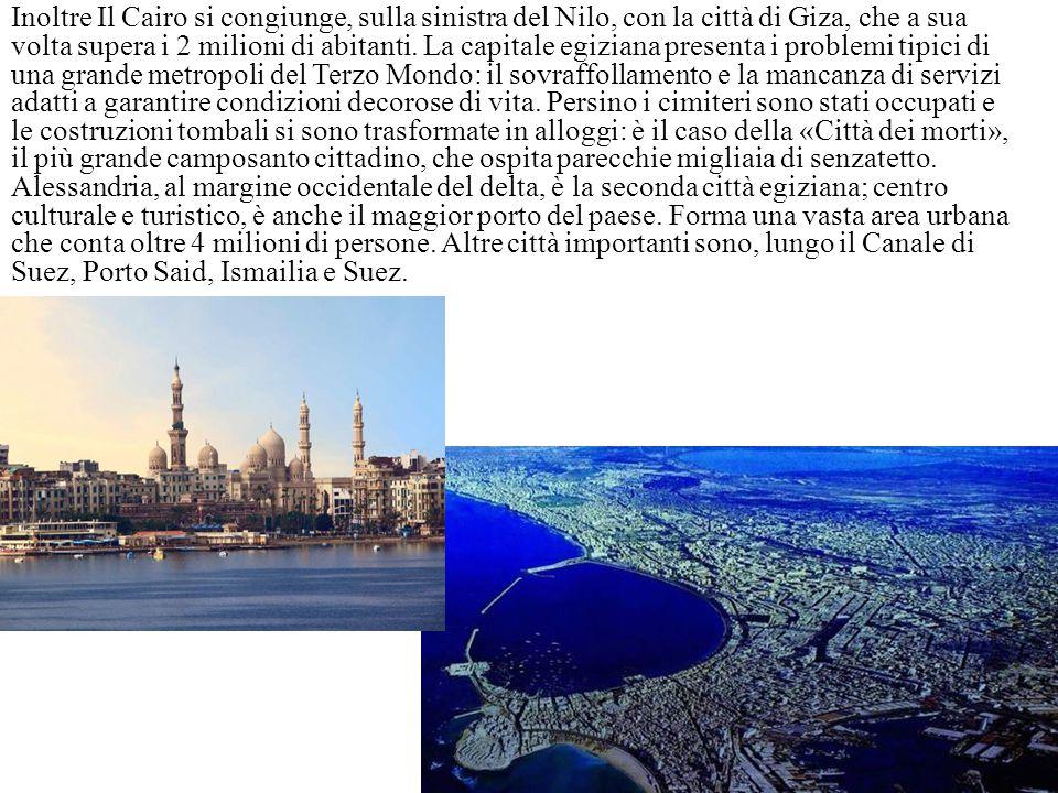 Inoltre Il Cairo si congiunge, sulla sinistra del Nilo, con la città di Giza, che a sua volta supera i 2 milioni di abitanti. La capitale egiziana pre