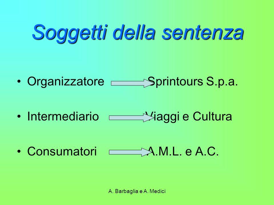A. Barbaglia e A. Medici Soggetti della sentenza Organizzatore Sprintours S.p.a. Intermediario Viaggi e Cultura Consumatori A.M.L. e A.C.