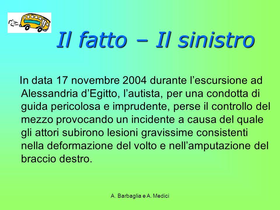 A. Barbaglia e A. Medici Il fatto – Il sinistro In data 17 novembre 2004 durante l'escursione ad Alessandria d'Egitto, l'autista, per una condotta di