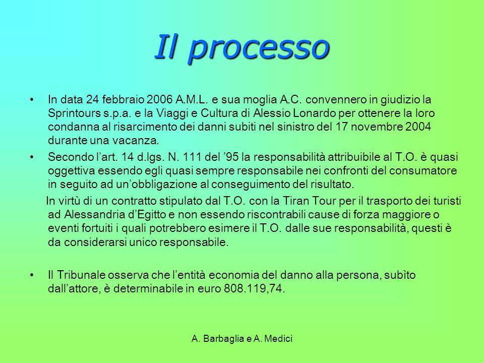 A. Barbaglia e A. Medici Il processo In data 24 febbraio 2006 A.M.L. e sua moglia A.C. convennero in giudizio la Sprintours s.p.a. e la Viaggi e Cultu