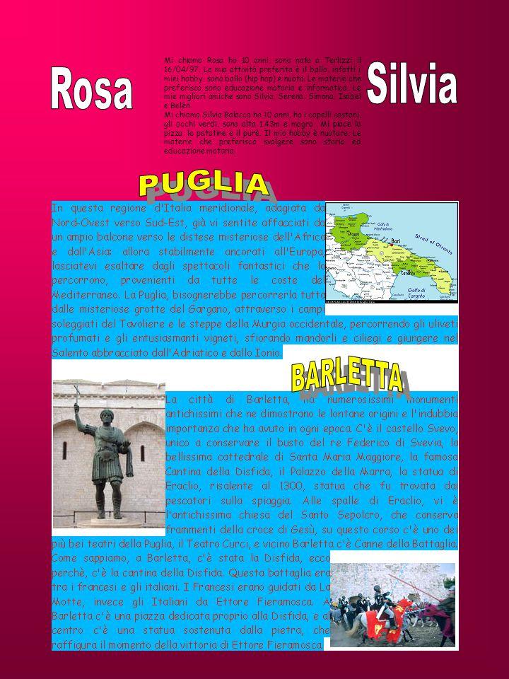 Mi chiamo Rosa ho 10 anni, sono nata a Terlizzi il 16/04/97. La mia attività preferita è il ballo, infatti i miei hobby sono ballo (hip hop) e nuoto.