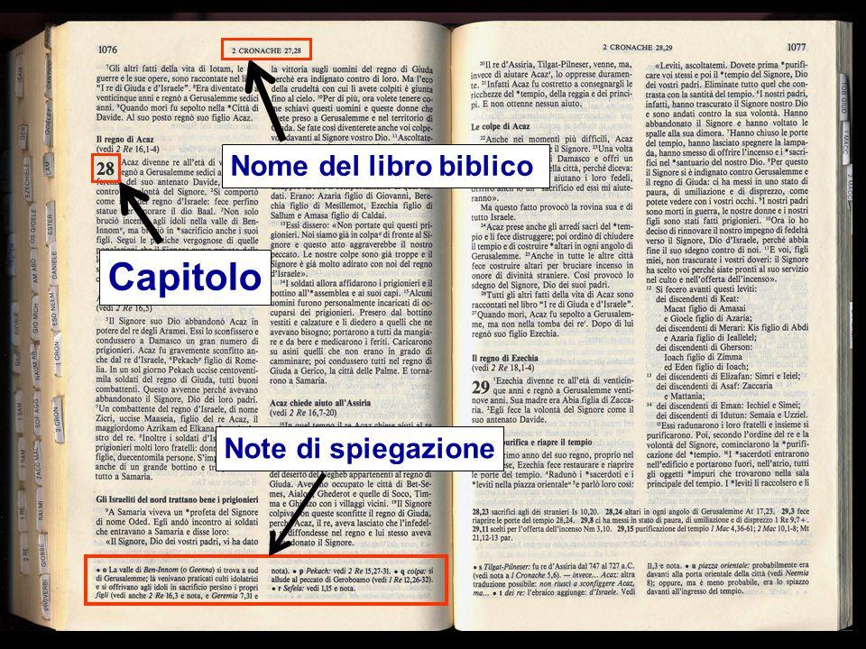 Nome del libro biblico Capitolo Note di spiegazione