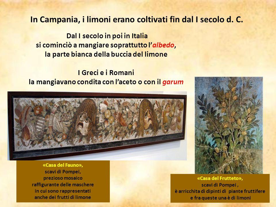 Dal I secolo in poi in Italia si cominciò a mangiare soprattutto l'albedo, la parte bianca della buccia del limone I Greci e i Romani la mangiavano co