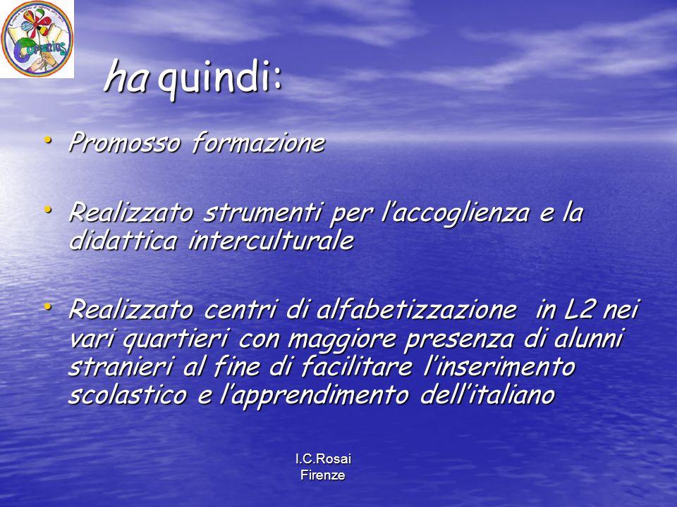 I.C.Rosai Firenze ha quindi: Promosso formazione Promosso formazione Realizzato strumenti per l'accoglienza e la didattica interculturale Realizzato s
